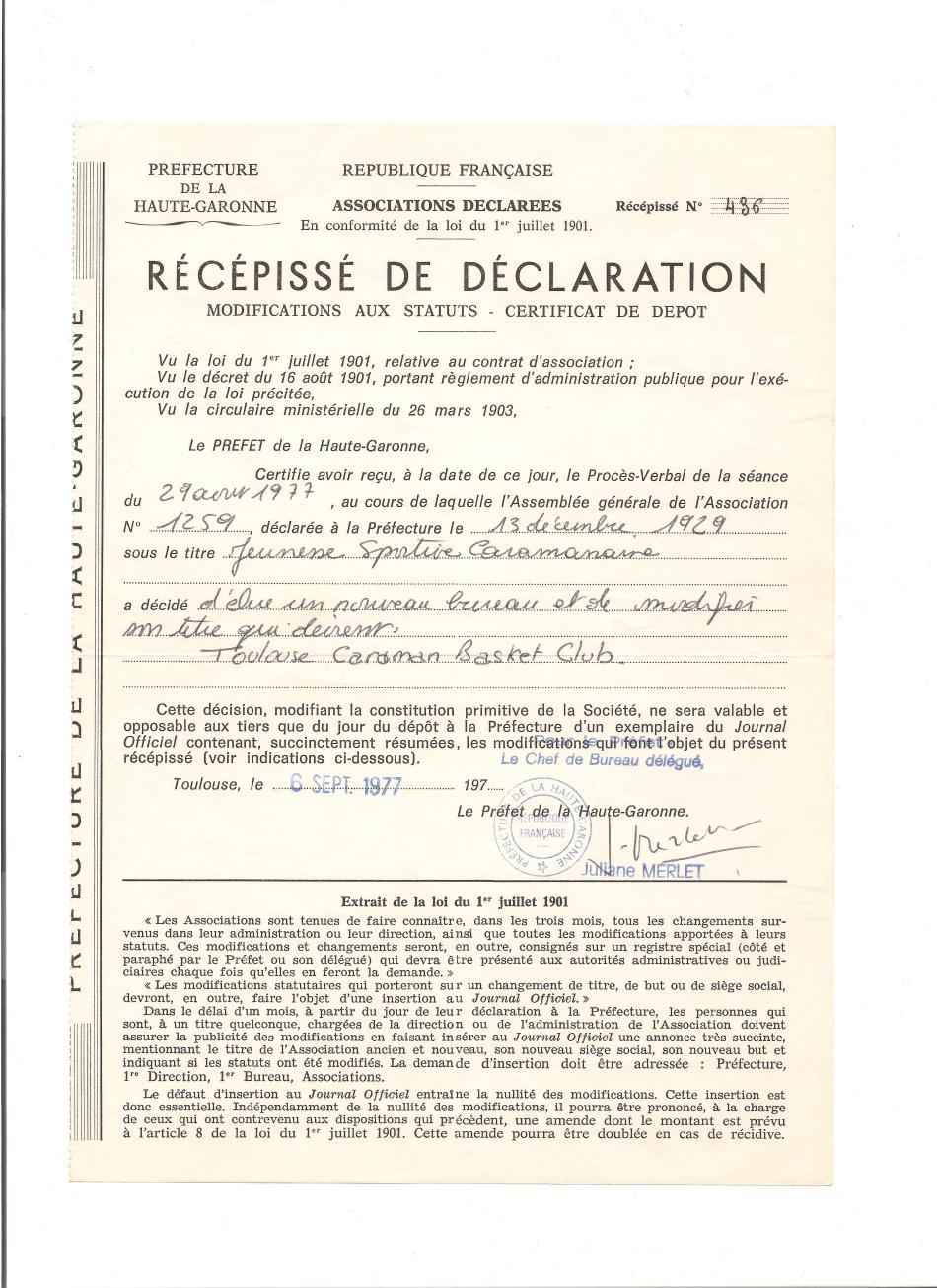 Caraman - 1977 - Récipissé de déclaration union
