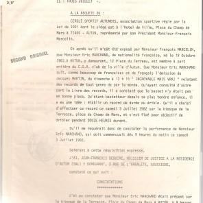 Procès-Verbal du record du dribble, page 1