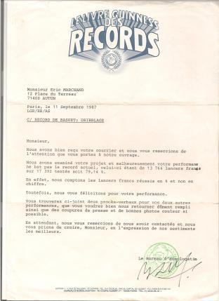 Réponse négative du Guinness pour le record de shoot