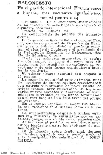Article ABC Madrid du 9 mars 1943 (ABC Diario)