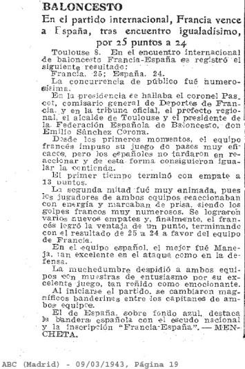 Article ABC Madrid du 9 mars 1943 (ABC Diario)