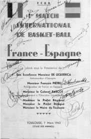 Affiche France-Espagne 1943 (Photo Musée du Basket, FFBB)